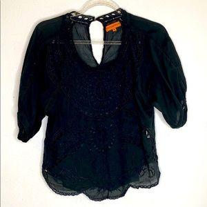 Roberta Freymann Black Semi-sheer Shirt Small